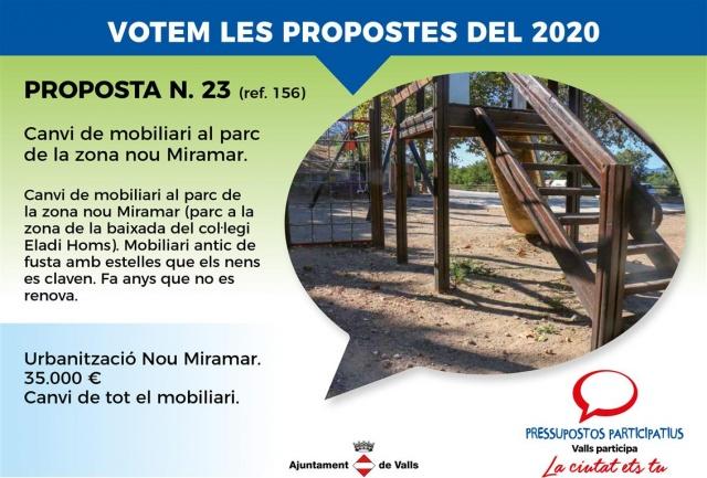 Canvi de mobiliari al parc de la zona nou Miramar