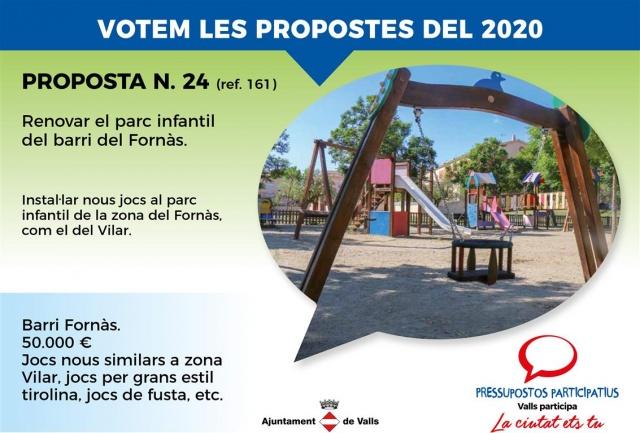 Renovar el parc infantil del barri del Fornàs