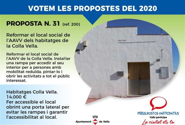 Reformar el local social de l'AAVV dels habitatges de la Colla Vella