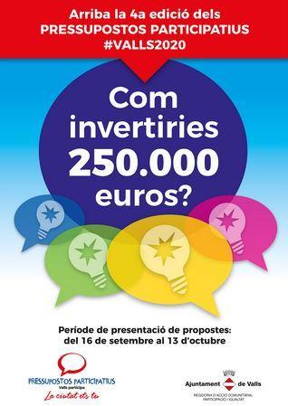 L'Ajuntament obre el procés de pressupostos participatius i incrementa de nou la inversió en projectes fins als 250.000 euros
